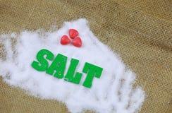 Sel naturel de mer avec le caractère vert de sel Image stock