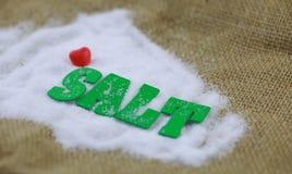 Sel naturel de mer avec le caractère vert de sel Images stock