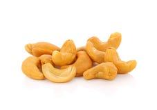 Sel rôti de whith de noix de cajou sur le fond blanc Photo libre de droits