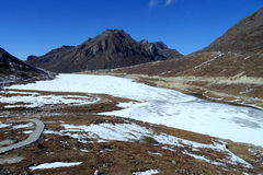 Frozen High altitude mountain lake at Sela, Arunachal Pradesh Stock Photo