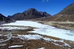 Frozen High altitude mountain lake at Sela, Arunachal Pradesh Stock Photo