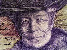 Selam Lagerloef. Closeup of a swedish 20 kr. note featuring the writer Selma Lagerloef royalty free stock photo