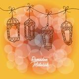 Selamat Hari Raya Aidilfitri with lantern. Greeting card vector illustration
