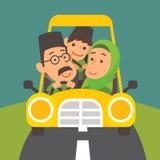 Selamat Hari Raya Aidilfitri. Muslim family is driving back to hometown for Raya celebration
