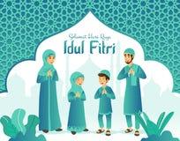 Selamat hari raya Idul Fitri is another language of happy eid mubarak in Indonesian. Cartoon muslim family celebrating Eid al fitr vector illustration