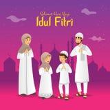 Selamat hari raya Idul Fitri is another language of happy eid mubarak in Indonesian. Cartoon muslim family celebrating Eid al fitr stock photos