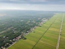 Selangor, Малайзия 15-ое ноября 2017: Вид с воздуха рисовых полей на Sungai Sireh, Kuala Selangor Стоковое фото RF