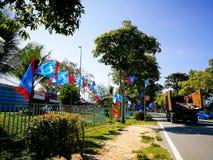SELANGOR, MALAYSIA - 28. April 2018: Flaggen und Fahnen von politischen Parteien, die an Malaysia-` s 14. allgemein teilnehmen, w stockfoto