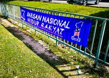 SELANGOR, MALAYSIA - 28 April 2018 : flags and banners of political parties that will participate in Malaysia`s 14th General Elect. SELANGOR, MALAYSIA - 28 April royalty free stock image