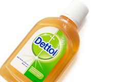 Dettol Antibacterial Disinfectant isolated white background. SELANGOR, MALAYSIA - August 9th, 2018: Dettol Antibacterial Disinfectant isolated white background stock images