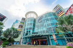 Exterior view of The Curve Mall which is located in Mutiara Damansara. People can seen exploring and shopping around it. Selangor, Malaysia - December 16,2017 Stock Photography