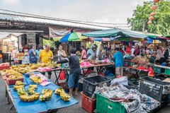 Scenic view of the morning market in Ampang, Malaysia. Selangor,Malaysia - July 10,2017 : Scenic view of the morning market in Ampang, Malaysia. The morning Royalty Free Stock Photography