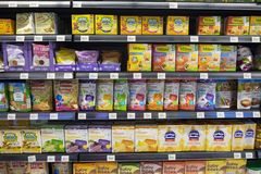 SELANGOR, MALAYSIA - 12 JUNE, 2017: Variety of baby meal display on rack in hypermart at Puncak Alam, Malaysia Royalty Free Stock Photo