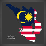 Selangor Malaysia map with Malaysian national flag illustration Royalty Free Stock Photography