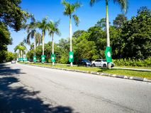 SELANGOR, MALEISIË - 28 April 2018: de vlaggen en de banners van politieke partijen die aan Algemeen Maleisië ` s veertiende zull royalty-vrije stock afbeelding