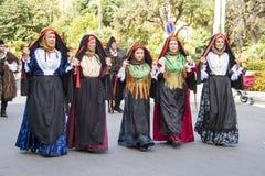 SELARGIUS, ΙΤΑΛΙΑ - 8 ΣΕΠΤΕΜΒΡΊΟΥ 2013: Αρχαίος γάμος Selargino - Σαρδηνία Στοκ φωτογραφίες με δικαίωμα ελεύθερης χρήσης