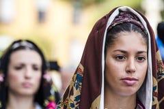 SELARGIUS, ITALIË - 2015 13 September: Vroeger huwelijk Selargino - Sardegnap Royalty-vrije Stock Foto's