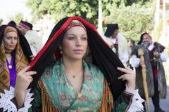 SELARGIUS, ITALIË - September 9, 2012: Vroeger huwelijk Selargino - Sardinige Royalty-vrije Stock Afbeelding
