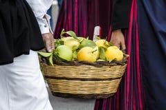 SELARGIUS, ITALIË - 2015 13 September: Vroeger huwelijk Selargino - Sardinige Royalty-vrije Stock Foto's