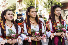 SELARGIUS, ITALIË - September 13, 2015: Vroeger huwelijk Selargino - Sardinige Stock Afbeeldingen