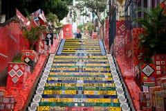 Selarons trappa (Escadaria Selar�n), Rio de Jane Royaltyfri Fotografi