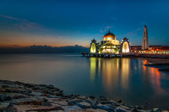 Selat mosque after sunset. This floating mosque near selat melaka located at melaka city, malaysia stock images