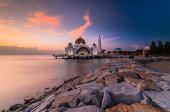 Selat mosque during sunset. This mosque partly floating at ocean near melaka city, malaysia stock image