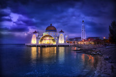 Selat Mosque on water in Malacca, Malaysia, Asia. Stock Photography