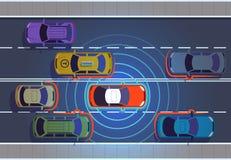 Selbst, der Auto fährt Autonomes intelligentes Fahrzeug des Automobildraufsicht-Automobils der Technologie der autos futuristisch lizenzfreie abbildung