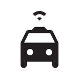 Selbst, der Taxi fährt - Glyph-Ikone - Schwarzes Lizenzfreie Stockfotografie
