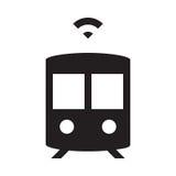 Selbst, der Zug fährt - Glyph-Ikone - Schwarzes Lizenzfreies Stockfoto