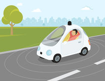 Selbst-Fahren der flachen modernen Illustration des Autos Lizenzfreies Stockbild