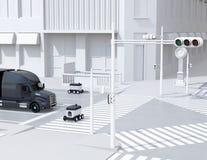 Selbst-Fahren von Lieferungsrobotern auf der Straße Eine Überfahrt die Straße mit einem Fußgängerübergang vektor abbildung