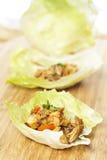 Selbst gemachte asiatische Huhn-Kopfsalat-Verpackungen lizenzfreie stockfotografie