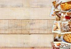 Selbst gemachte Backencollage mit Plätzchen, frischem Brot, Apfelkuchen und Muffins über hölzernem Hintergrund Stockfotografie