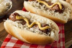 Selbst gemachte Bratwurst mit Sauerkraut stockfotografie