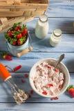 Selbst gemachte Eiscreme gemacht mit Erdbeere Lizenzfreie Stockbilder