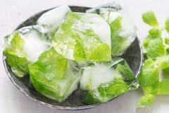 Selbst gemachte Eiswürfel mit tadellosen Blättern nach innen auf Metallplatte, frischer Minze auf Hintergrund, dem Eis für Limona Stockfotografie