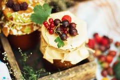 Selbst gemachte Erdbeergruben Nachtisch gemacht vom Muss und von Mehl gesetzten inneren kleinen Gläsern Selbst gemachte Himbeerma Lizenzfreie Stockbilder