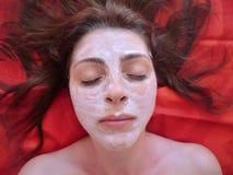 Selbst gemachte Gesichtsbehandlung maskiert Schönheit, Badekur, Make-up Lizenzfreies Stockbild