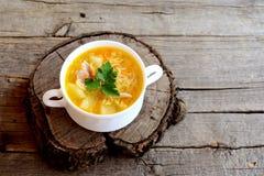 Selbst gemachte Hühnernudelsuppe in einer Schüssel Suppe kochte in der Hühnerbrühe mit Kartoffeln, Nudeln, Zwiebeln und Karotten Lizenzfreies Stockbild