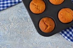 Selbst gemachte heiße Muffins in der Form Stockbild