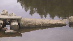 Selbst gemachte Holzbrücke von den Klotz und von Steinen errichtet im ruhigen Fluss stock video