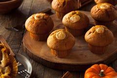 Selbst gemachte Kürbis-Gewürz-Muffins Stockbilder