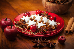 Selbst gemachte Lebkuchenplätzchen für Weihnachten lizenzfreie stockbilder