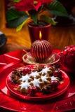 Selbst gemachte Lebkuchensternplätzchen für Weihnachten lizenzfreie stockbilder