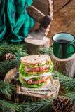 Selbst gemachte Mahlzeit von Sandwichen und von Kaffee Stockbilder