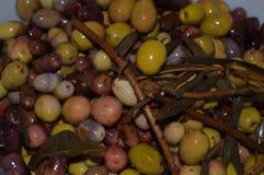 Selbst gemachte marinierte Oliven Stockfotos
