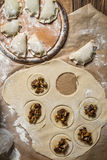 Selbst gemachte Mehlklöße mit wilden Pilzen Lizenzfreies Stockbild