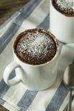 Selbst gemachte Mikrowellen-Schokoladen-Becher-Schokoladenkuchen stockfotos
